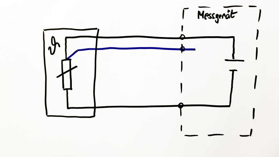 Skizze Pt100 in Dreileiter-Schaltung